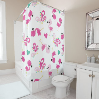 Cute Pink Flamingo and Flourish Patterned Shower Curtain