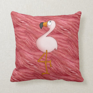 Cute Pink Flamingo & Feathers Pattern Pillow