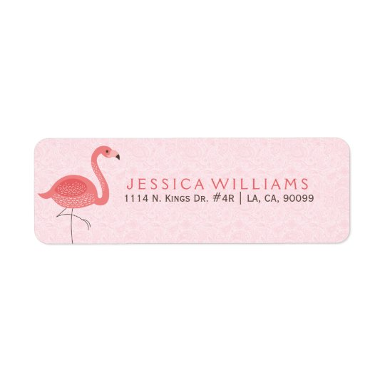 Cute Pink Flamingo Illustration On Pink Return Address Label