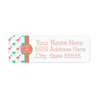 Cute Pink Flamingo Patterned Monogrammed