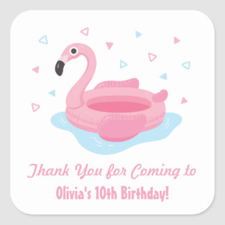 Cute Pink Flamingo Pool Float Thank You Stickers