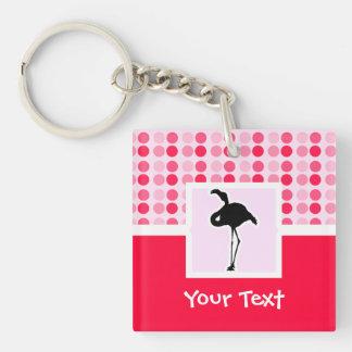 Cute Pink Flamingo Square Acrylic Key Chain