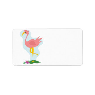 cute pink flamingo standing in the yard address label