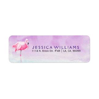 Cute Pink Flamingo Watercolors Illustration Return Address Label