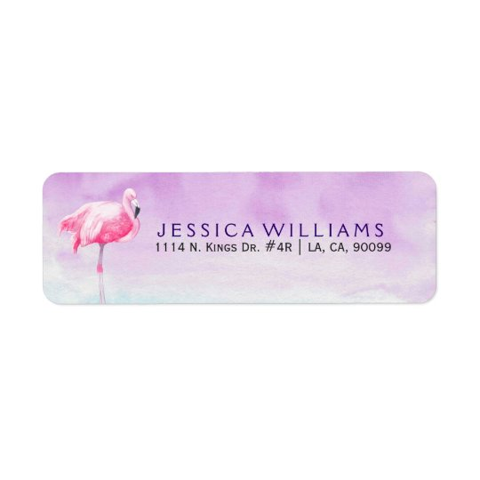 Cute Pink Flamingo Watercolors Illustration Return Address Label