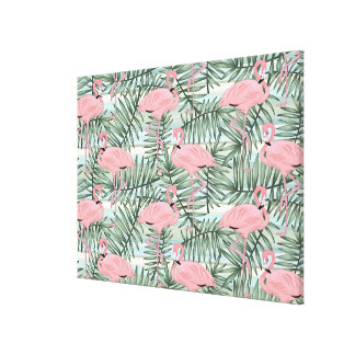 Cute Pink Flamingoes Palm Leafs Pattern Canvas Print