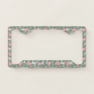 Cute Pink Flamingoes Palm Leafs Pattern Licence Plate Frame