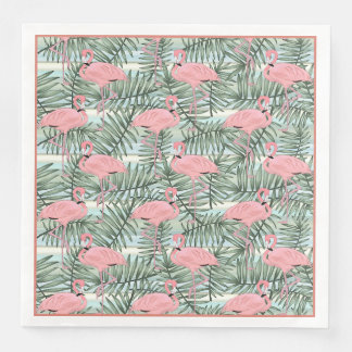 Cute Pink Flamingoes Palm Leafs Pattern Paper Napkin