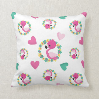 Cute Pink Flamingos and Hearts Cushion