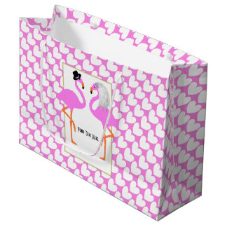 Cute Pink Flamingos Bride & Groom Personalized Large Gift Bag