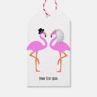 Cute Pink Flamingos Bride & Groom Wedding Gift Tags