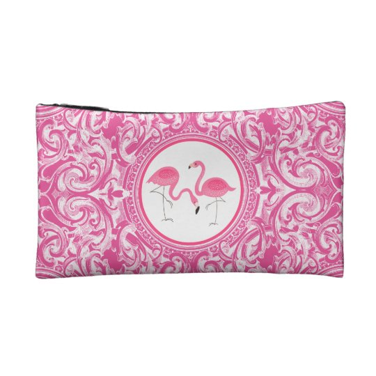 Cute Pink Flamingos Over Pin & White Swirls
