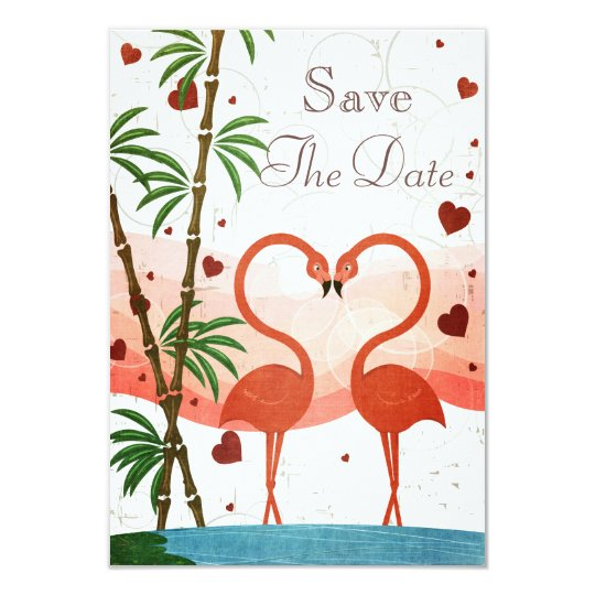 Cute Pink Flamingos Save The Date Card
