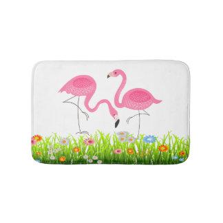 Cute Pink Flamingos & Spring Flowers Bath Mat