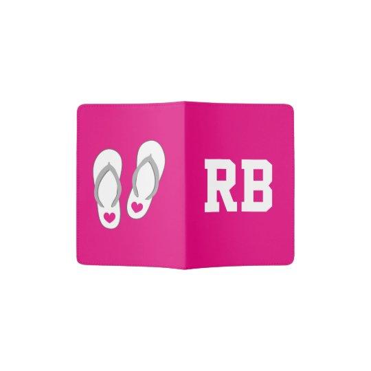 Cute pink flip flops monogram passport holder