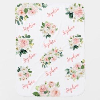 Cute Pink Floral Baby Girl Name Baby Blanket