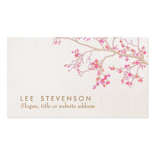 Cute Pink Flower Blossoms Linen Look Whimsical Business Card Templates