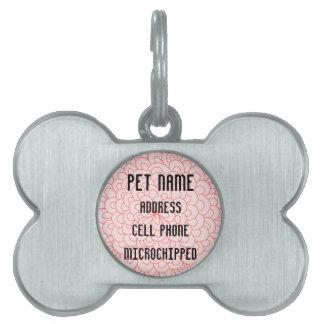 Cute Pink Flower Custom Pet Tag