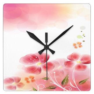 Cute Pink Flowers Clocks