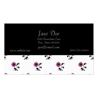Cute Pink Flowers on White Business Card Template