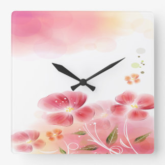 Cute Pink Flowers Square Wall Clock
