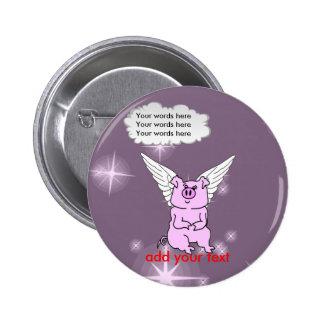Cute Pink Flying Pig 6 Cm Round Badge