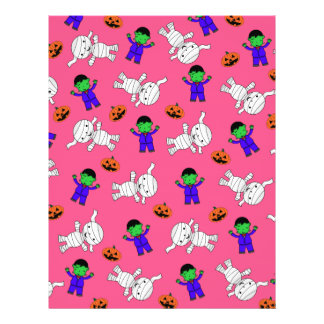 Cute pink Frankenstein mummy pumpkins Custom Flyer