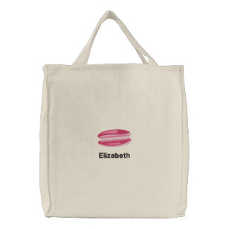 Cute Pink French Macaron Personalized Embroidered Tote Bag