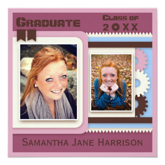 Cute Pink Gears Graduation Photo 13 Cm X 13 Cm Square Invitation Card