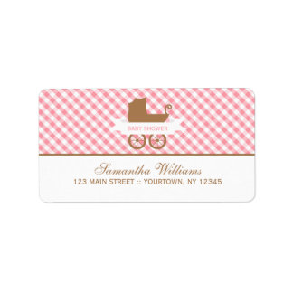 Cute Pink Gingham Pattern and Baby Carriage Address Label