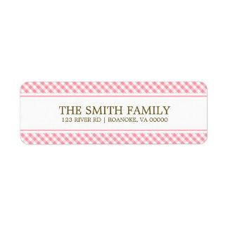 Cute Pink Gingham Pattern Return Address Label