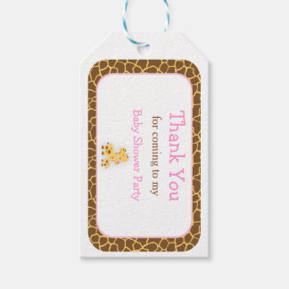 Cute Pink Giraffe Thank You Gift Tag