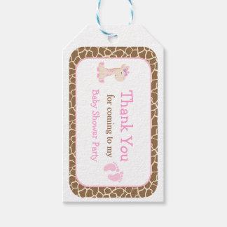 Cute Pink Girl Giraffe Thank You Gift Tag