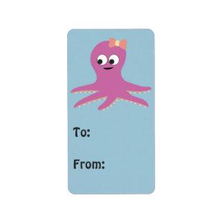 Cute pink girl Octopus Address Label