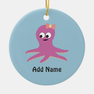 Cute pink girl Octopus Christmas Ornament