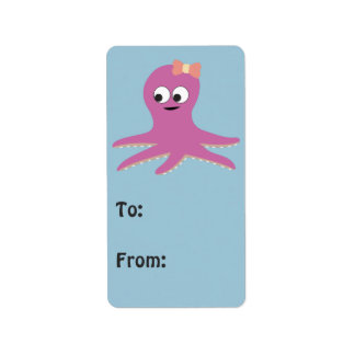 Cute pink girl Octopus Address Label