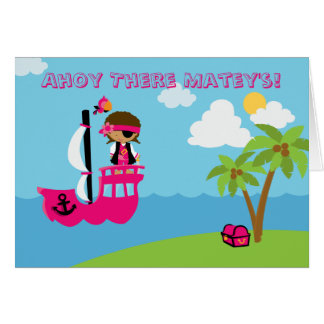 Cute pink girl s pirate birthday party invitation greeting card