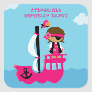 Cute pink girl s pirate birthday party stickers