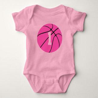 Cute Pink Girls Basketball Custom Baby Bodysuit