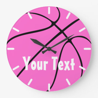 Cute Pink Girls Basketball Wall Clock