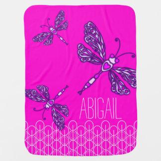 Cute pink girls named dragonflies baby blanket