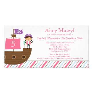 Cute pink girl's pirate birthday party invitation personalized photo card