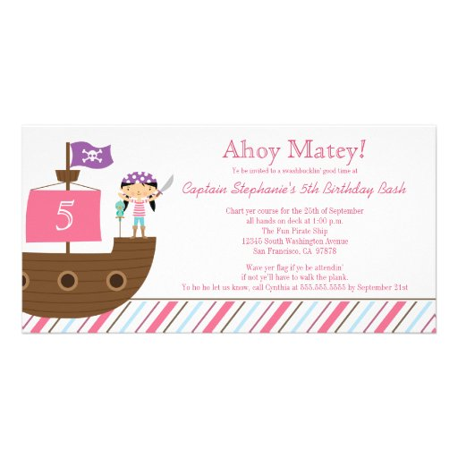 Cute pink girl's pirate birthday party invitation customized photo card