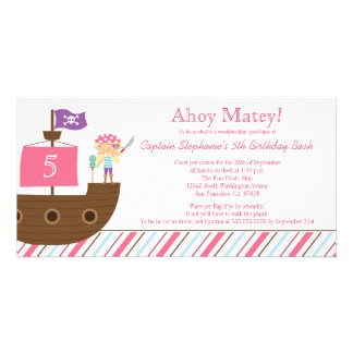Cute pink girl's pirate birthday party invitation personalised photo card