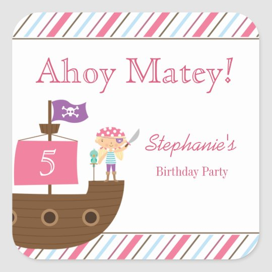 Cute pink girl's pirate birthday party stickers