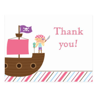 Cute pink girl's pirate birthday party thank you post cards