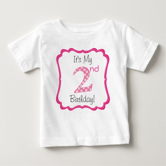 Cute Pink Girl's Second Birthday Baby T-Shirt