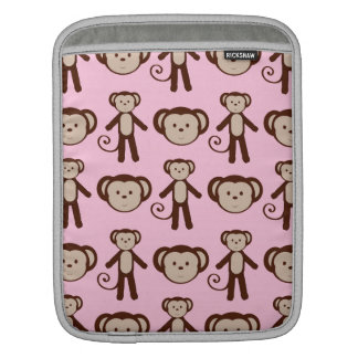 Cute Pink Girly Monkey Collage Pattern Sleeves For iPads