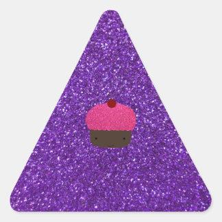 Cute pink glitter cupcake purple glitter triangle sticker