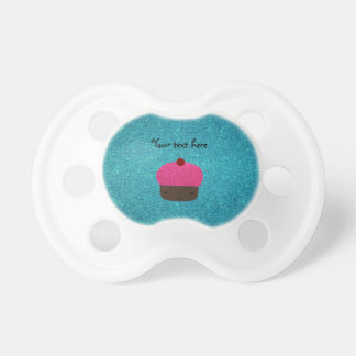 Cute pink glitter cupcake turquoise glitter baby pacifier